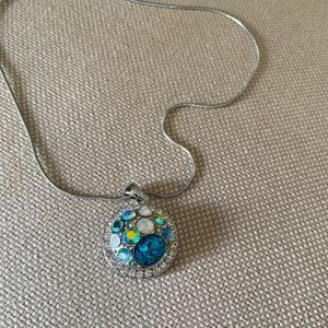 Gingersnaps necklace in blues.  16 inch-19 inch.